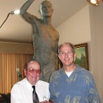 Artist with Frank Burger, Commander American Ex-POWs, WWII POW and Veteran