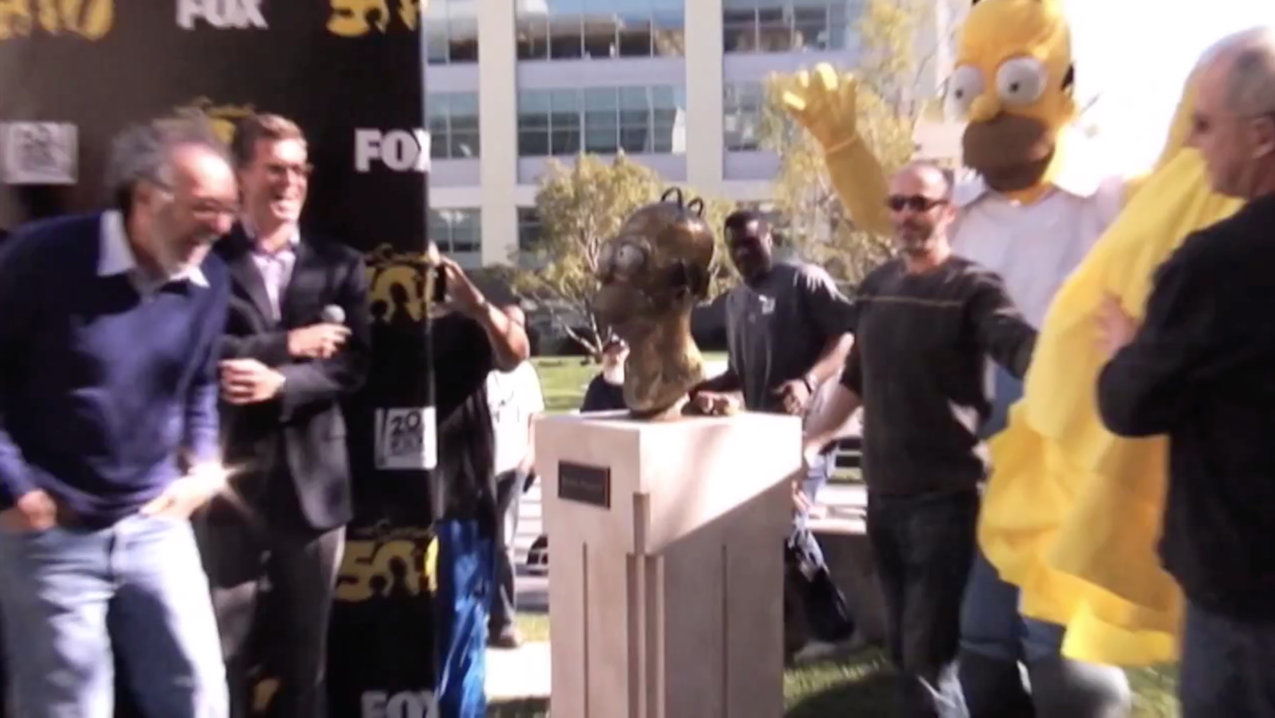 Homer Bust unveiling with Jim Brooks reaction